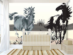 3d Run Horse Painting 5 Wall Paper Wall Print Decal Wall Deco Indoor Mural Lemon