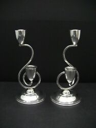 Pair Gonzalo Moreno Modernist Mexican 925 Sterling Silver Candelabra Candlestick