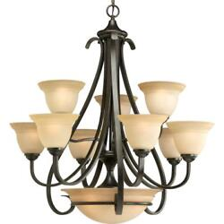Chandelier 9-light Center Bowl In Forged Bronze With Tea-stained Glass Shade