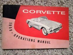 1959 Corvette Factory Gm Owners Manual 2nd Edition Part 3758068 W/ 1/2 Card