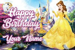 Personalised Beauty And The Beast Belle Birthday Pvc Banners In/outdoor Printed