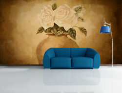 3d Pottery Jar Roses 46 Wall Paper Wall Print Decal Wall Deco Indoor Mural Carly