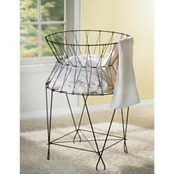 Laundry Basket Hamper Iron Wire Collapsible Oxidized Finish With 4-iron Legs