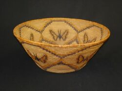 Large Panamint Polychrome Butterfly Basket, Native American Indian, C.1920