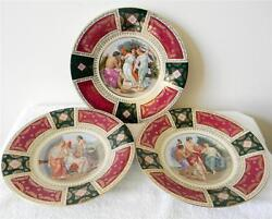 Set Of Three Large Royal Vienna Porcelain Victorian Chargers - Wall Mounts