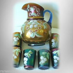 Fenton Enamel Pitcher And Glasses - Cherries And Flowers