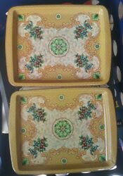 2 Vintage Daher Rectangle Tin Trays- Floral Design Long Island-made In England