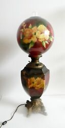 Gwtw Vintage Tall Electrified Oil Table Lamp With Hand Painted Floral Globes