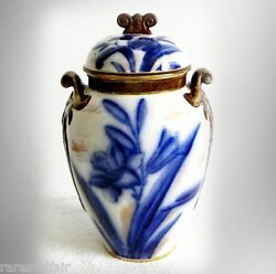 Adderley England Flow Blue Covered Jar With Lid And Handles
