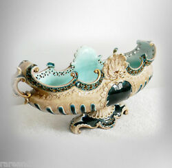 Majolica Centerpiece Vase Or Bowl With Green And Gold Accents