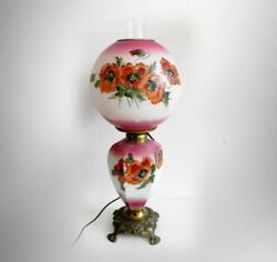 Gwtw Vintage Tall Table Lamp With Hand Painted Floral Globes