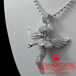 New 14k White Gold Over Solid Sterling Silver Baby Angel Charm Pendant Chain Set