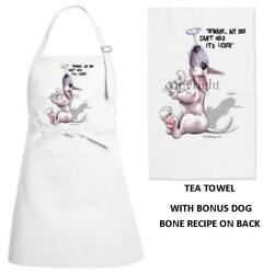 Bull Terrier Dog Can't Hold Its Licker Kitchen Chef Apron & Dish Towel Gift Set