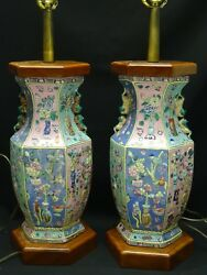 2 Antique 19c Qing Chinese High Relief Famille Rose Faceted Baluster Vase Lamp
