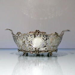 Early 20th Century Antique Edwardian Sterling Silver Pierced Dish London 1908 Ca