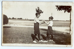 Cute brothers play fighting in yard boys c. 1910; Real photo postcard RPPC old
