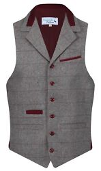 Mens Wool Denford Quality Tweed Check Waistcoat With Collar Pewter Grey New