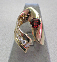 One Of A Kind Large Garnet And Diamond Ring 14k Gold Size 7.5  Make Offer