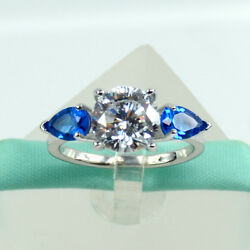 3 Three Stone 2carat Cubic Zirconia 925 Sterling Silver Engagement Ring Sapphire