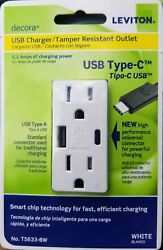 Leviton T5633-bw 15 Amp Type A And C Usb Charger Tamper-resistant Outlet, White