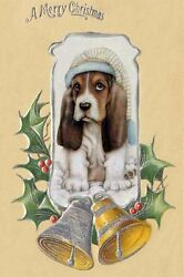 Basset Hound Dog Puppy ~ 8 CUTE New  Large Christmas Note Cards