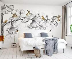 3d Bird Leaf Branches 4 Wall Paper Exclusive Mxy Wallpaper Mural Decal Indoor Aj