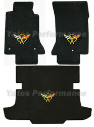 1997-2004 Corvette Coupe And Hatchback Floor / Trunk Mats - Yellow Crossed Flags