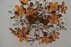 Italy Florentine Chandelier Lamp Amber Crystal Glass Flowers Golden Circa 50s