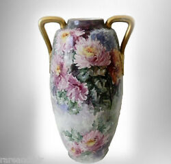 Austria Vintage Very Large Hand Painted Vase With Handles And Floral Decoration