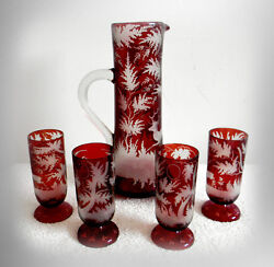 Bohemia Czech Rare Pitcher And Glasses - Cranberry Cut To Clear