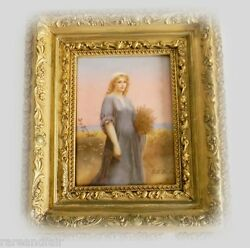 Porcelain Antique Kpm Style Plaque Of Ruth In Gilt Frame - Signed Ca 1893