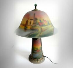 Phoenix Reverse Painted Vintage Lamp - Harbor Scenes With Lighted Base