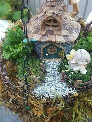 Hanging Fairy Garden Kit, House, Fencing, Rocks, Sand, Live And Grass Plants