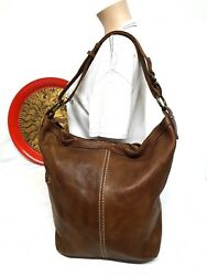 ROOTS CANADA CAMPUS BROWN LEATHER HOBO BUCKET SHOULDER CROSSBODY BAG RB7054