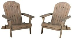 Adirondack Chair 34.25 In. H Folding Acacia Wood Frame In Grey Finish 2-pack
