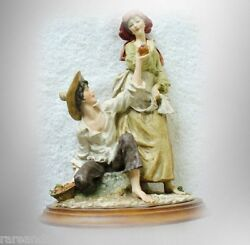 Armani Art Figurine Of Young Girl And Boy - Made In Italy, Signed, Circa 1981