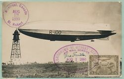 August 1 1930 Dirigible R-100 Zeppelin Flight Card Extremely Rare Wlm6456