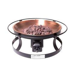 Fire Pit Kit Propane Gas Lava Rock Outdoor Heating Matchless Ignition Copper