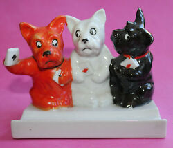 VTG Porcelain SCOTTIE TERRIER DOG BUSINESS or PLAYING CARD Pen HOLDER Wall Hang