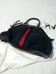 New Gucci Navy leathersuede hand bag with tags and dust bag