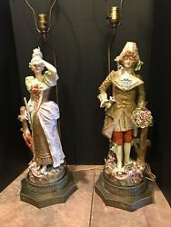 Vintage Pair Tall Hollywood Regency Porcelain Victorian Couple Table Lamps 40