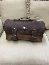 Handmade Barrel Style Trunk Bag for Motorcycle Crazy Horse Brown  Ostrich print