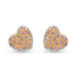 0.15cts Pink Diamond Pave Earrings Set In 18k White Rose Gold