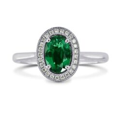 0.64cts Emerald Side Diamonds Engagement Halo Ring Set In 18k White Gold