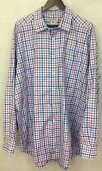 DAVID DONAHUE - LIGHT BLUE PINK AND WHITE CHECK LS BUTTON UP SHIRT - SZ XXL $29.99
