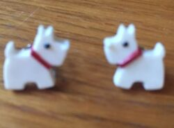 White Scottie Scottish Terrier Earrings