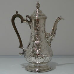 18th Century Antique George Iii Sterling Silver Rococo Coffee Pot London 1767