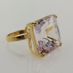 18k. Yellow Gold Ring With Spectacular Natural Kunzite Of 56.07 Carat