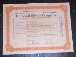 Old Nevada Mining Stock Certificate Universal Silvers Company
