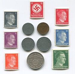 Ultra Rare 4 Ww2 Coin And Stamps 2 Rm Marks Reichsmark Silver German Lot
